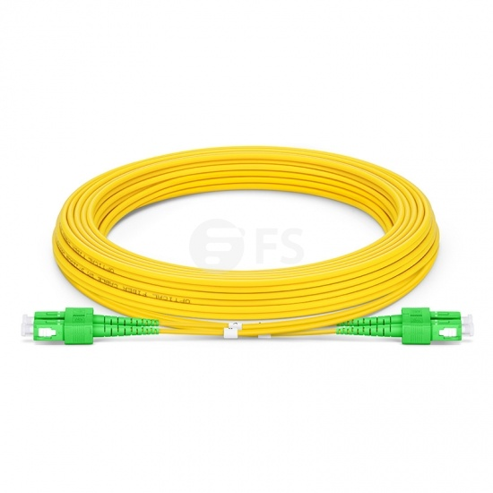 7m (23ft) SC APC to SC APC Duplex 3.0mm PVC (OFNR) 9/125 Single Mode Fiber Patch Cable