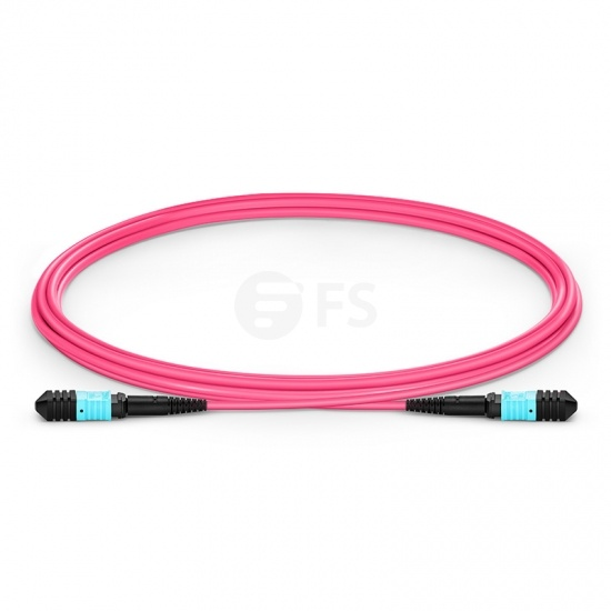 2m (7ft) Senko MPO Female 12 Fibers Type B LSZH OM4 (OM3) 50/125 Multimode Elite Trunk Cable, Magenta