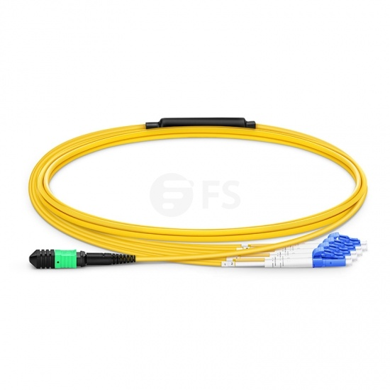 2m (7ft) Senko MPO Female to 4 LC UPC Duplex 8 Fibers Type B LSZH OS2 9/125 Single Mode Elite Breakout Cable, Yellow