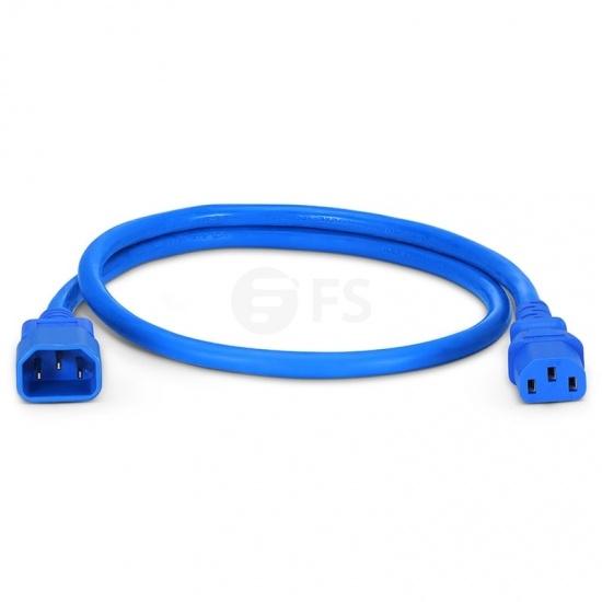 Cable de extensión de alimentación, IEC320 C13 a IEC320 C14 (hembra a macho) 2ft (0.6m) 14AWG 250V/15A, azul