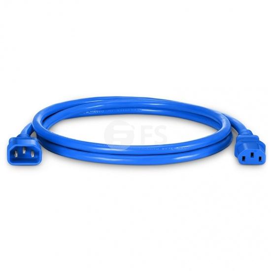 Cable de extensión de alimentación, IEC320 C13 a IEC320 C14 (hembra a macho) 4ft (1.2m) 14AWG 250V/15A, azul