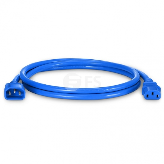 IEC320 C14 to C13 Power Cord, 14AWG, 250V/15A, Blue-5ft (1.5m)