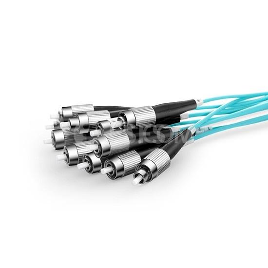 5m 24芯MTP®(母)-24*FC/UPC 单工万兆多模OM3分支光纤跳线,低插损,LSZH,水绿色