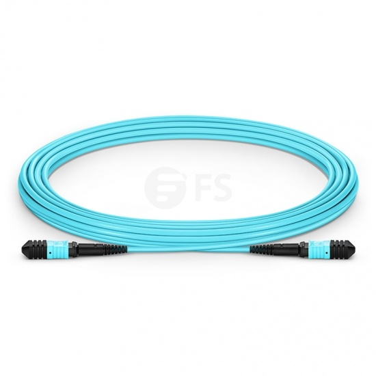 Cable troncal Senko MPO hembra a hembra 12 fibras OM3 50/125 multimodo, tipo A, LSZH, aguamarina, 5.43m