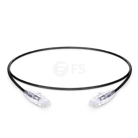 0.5m Cat6 Slim Ethernet Patch Cable - Snagless, Unshielded (UTP) PVC CM, 28AWG, Black