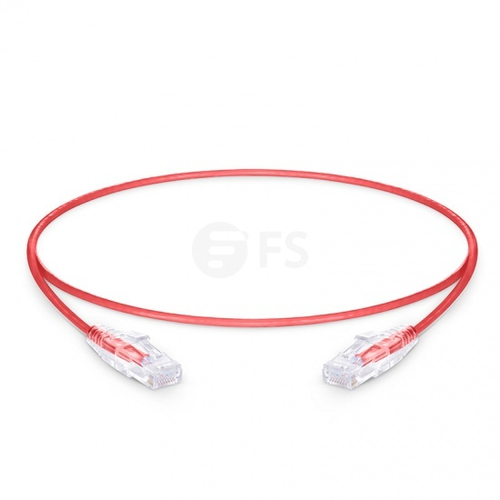 0.6m Cat6 Slim Ethernet Patch Cable - Snagless, Unshielded (UTP) PVC CM, 28AWG, Red