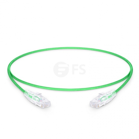 0.6m Cat6 Slim Ethernet Patch Cable - Snagless, Unshielded (UTP) PVC CM, 28AWG, Green
