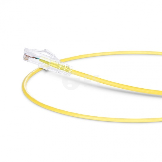 0.3m Cat6六类非屏蔽(UTP)细径网络跳线,卡沟设计,PVC护套,黄色