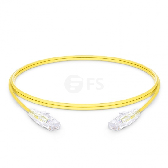 1.5m Cat6 Slim Ethernet Patch Cable - Snagless, Unshielded (UTP) PVC CM, 28AWG, Yellow