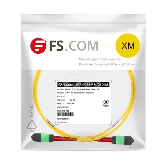 3M 24芯 MTP®(母)单模OS2主干光纤跳线,100GBASE-SR10 CXP/CFP/CPAK, 极性 A (TIA-568),低插损,Plenum (OFNP阻燃)