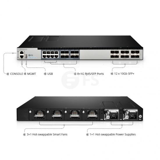 T5800-8TF12S 网络TAP分流器(8x1G RJ45/SFP Combo口+12x10G SFP+口)