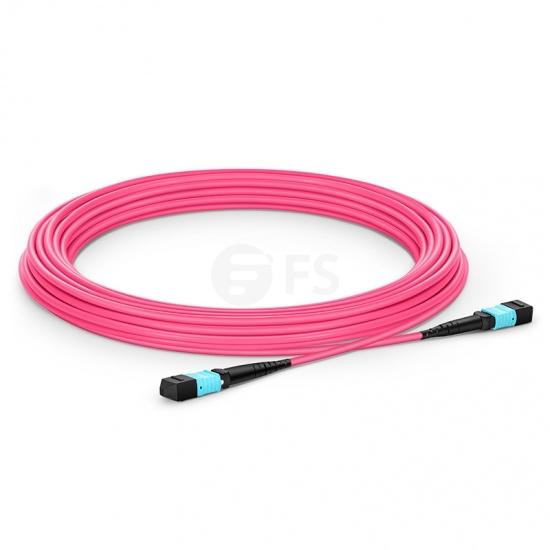 15m 12芯 MTP®(母)万兆多模OM4 (OM3)主干光纤跳线,极性A,低插损,Plenum (OFNP阻燃)