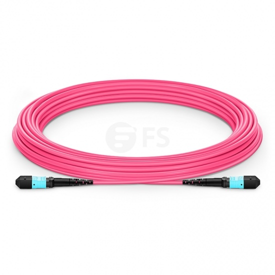 Customised Length MTP Female 12 Fibres OM4 Multimode Plenum (OFNP) Fibre Trunk Cable, Elite, Type B, Magenta