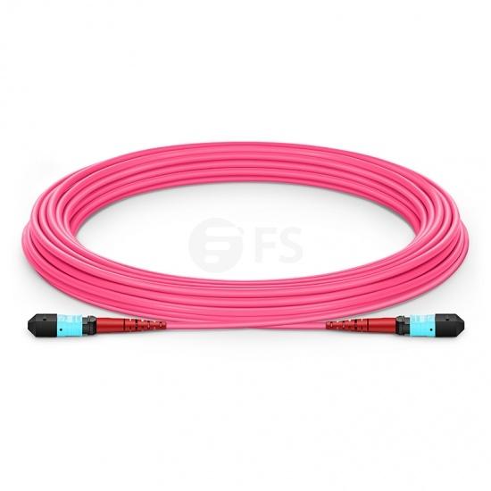 Cable troncal MTP® 24 fibras OM4 multimodo plenum personalizado, tipo A, hembra, élite, magenta