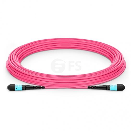 Customised Length MTP Female 12 Fibres OM4 Multimode LSZH Fibre Trunk Cable, Elite, Type B, Magenta