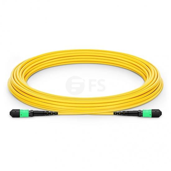 カスタム長さ MTP®メス 12芯 OS2 9/125 シングルモード トランクケーブル(タイプB、LSZH、黄色)