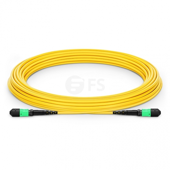 Customised Length MTP Male 12 Fibres OS2 Single Mode LSZH Fibre Trunk Cable, Elite, Type A, Yellow