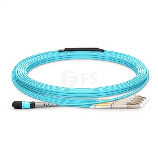 Cable Breakout MTP hembra a 4 LC 8 fibras OM4 multimodo LSZH personalizado, tipo B, aguamarina