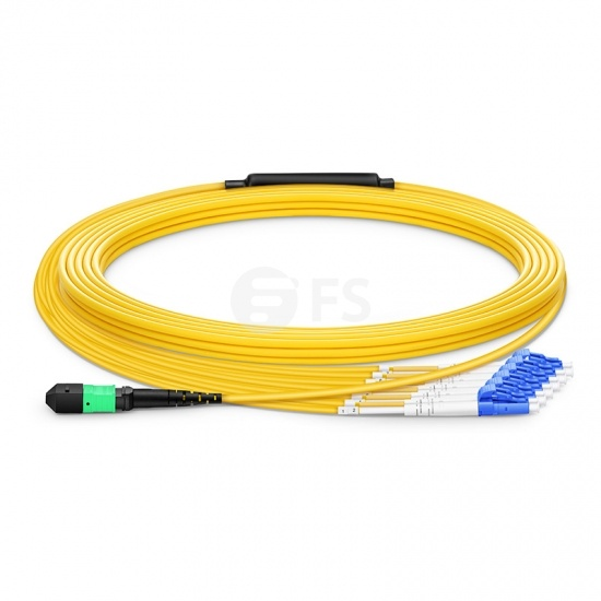 Customised Length MTP Female to 6 LC 12 Fibres OS2 Single Mode LSZH Fibre Breakout Cable, Type B, Yellow