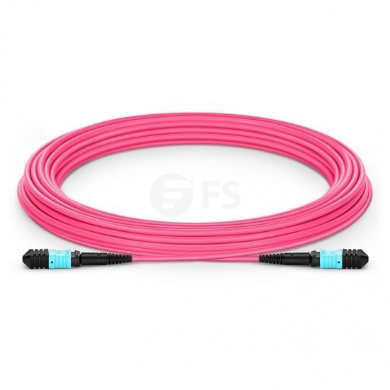 Customized Length Senko MPO Female 12 Fibers Type B LSZH OM4 50/125 Multimode Elite Trunk Cable, Magenta