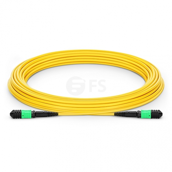 Customised Length Senko MPO Female 12 Fibres Type B LSZH OS2 9/125 Single Mode Elite Trunk Cable, Yellow