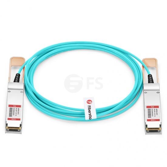 15m (49ft) 汎用互換 56G QSFP+アクティブオプティカルケーブル(AOC)