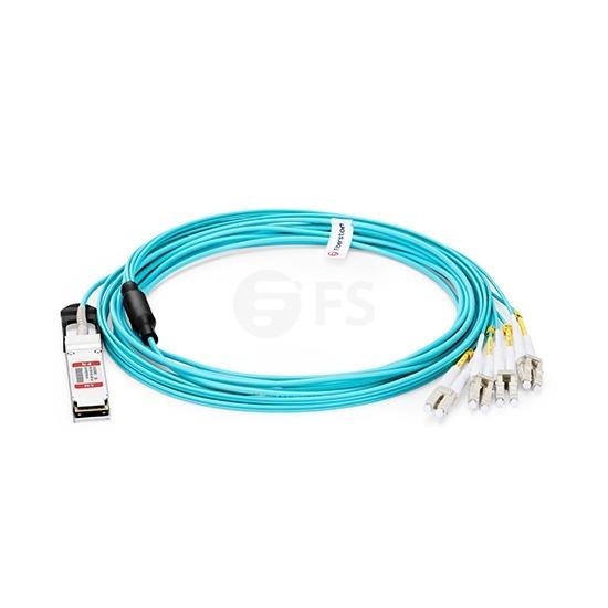 30m (98ft) Generic Compatible 40G QSFP+ to 4 Duplex LC Breakout Active Optical Cable