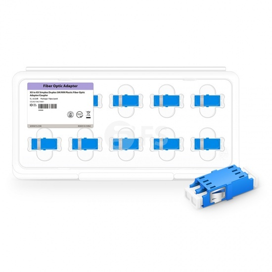 LC/UPC to LC/UPC Duplex Singlemode SC Type Plastic Fiber Optic Adapter (10pcs/Pack)