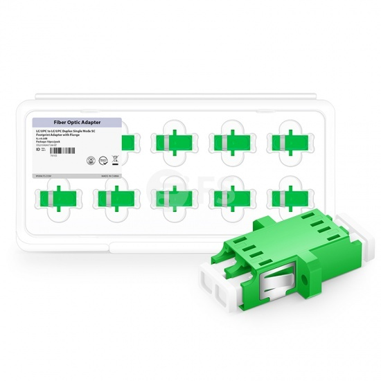 LC/APC to LC/APC Duplex Singlemode Flange Plastic Fiber Optic Adapter (10pcs/Pack)