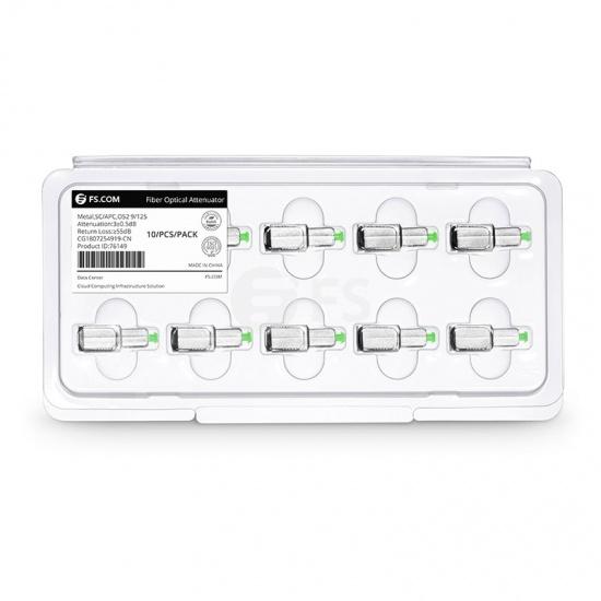 SC/APC Single Mode Fixed Fibre Optic Attenuator, Male-Female, 3dB (10pcs/Pack)
