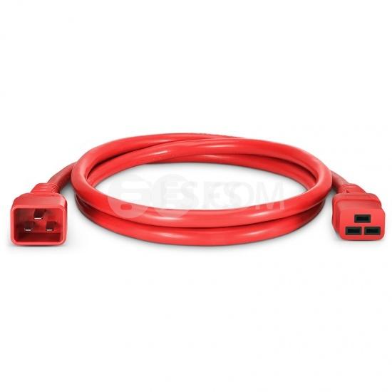 Cable de extensión de alimentación, IEC320 C19 a IEC320 C20 (hembra a macho) 1.3ft (0.4m) 12AWG 250V/20A, rojo