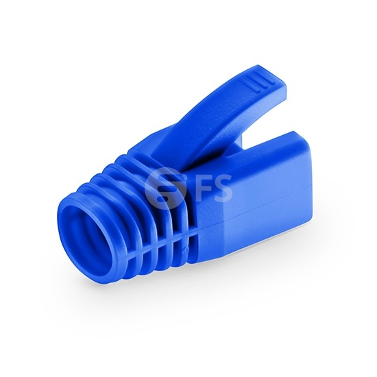 Cat6 RJ45 Shielded (STP) Snagless Boot Covers for Solid Cable - Blue, 50/Pack