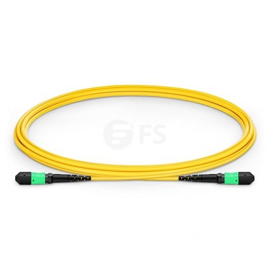 2m (7ft) MTP®メス 12芯 OS2 9/125 シングルモード トランクケーブル(タイプB、エリート、LSZH、黄色)