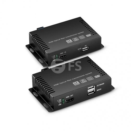 4K HDMI KVM USB2.0 延长器,带音频和EDID,LC单工,10KM