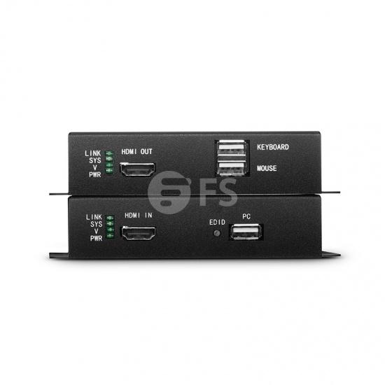 KVM extensor HDMI 4K por fibra óptica LC 10km, con audio, EDID y USB 2.0