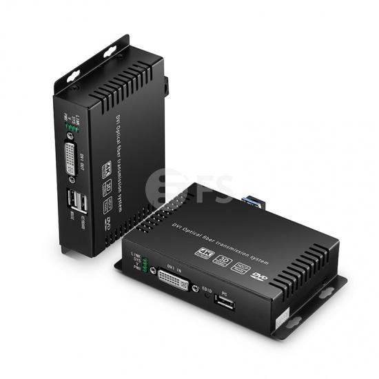 4K DVI KVM USB2.0延长器,提供音频和EDID,LC单工,10KM