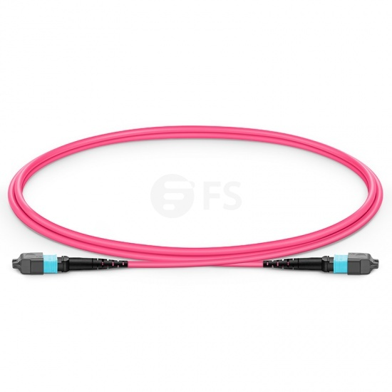 1m (3ft) MTP APC Female 16 Fibers Trunk Cable, for 400G Network Connection, Plenum (OFNP) OM4 50/125 Multimode Elite, Magenta