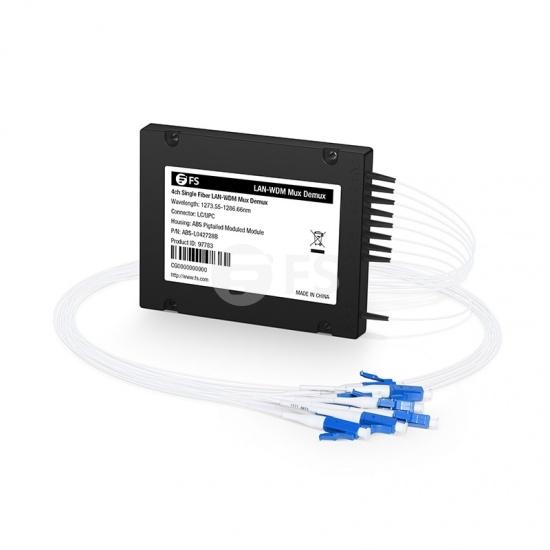 4チャネル 1273.55-1286.66nm シングルファイバ LAN-WDM波長合分波モジュール(Mux/Demux、サイドB、ABSピグテールモジュール、LC/UPC)