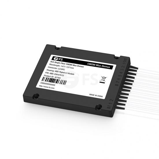 6 canales 1471-1571nm, CWDM Mux Demux de fibra simple, lado B, módulo pigtail (latigullo) ABS, LC/UPC