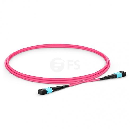 定制 16芯 MTP®(母) APC 万兆多模OM4主干光纤跳线,用于400G网络连接,Plenum(OFNP阻燃)