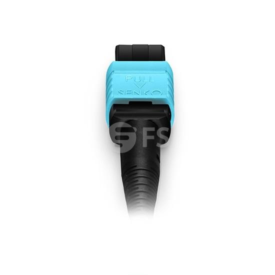 3m 8芯MPO(母)-4*LC/UPC 双工万兆多模OM4分支光纤跳线,极性B,低插损,LSZH