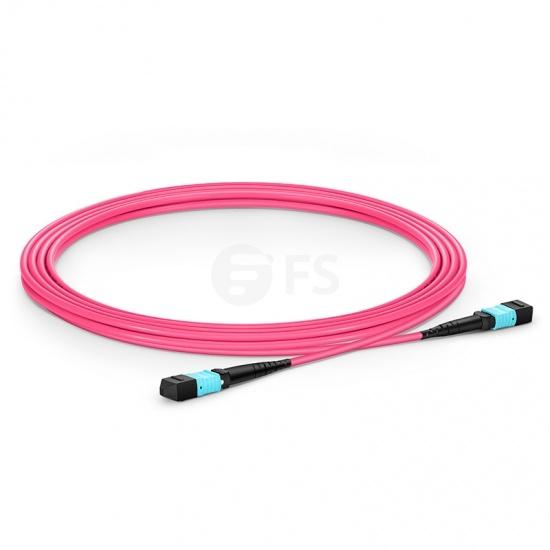 3m 16芯 MTP®(母) APC 万兆多模OM4主干光纤跳线,用于400G网络连接,Plenum(OFNP阻燃)