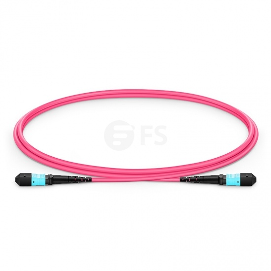 Customized Length MTP APC Female 16 Fibers Trunk Cable, for 400G Network Connection, Plenum (OFNP) OM4 50/125 Multimode Elite, Magenta