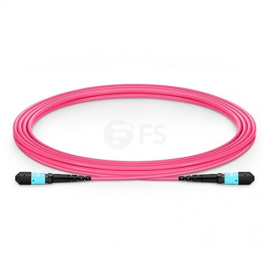 3m (10ft) MTP APC Female 16 Fibers Trunk Cable, for 400G Network Connection, Plenum (OFNP) OM4 50/125 Multimode Elite, Magenta