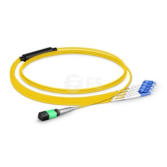 8m 8芯MTP(母)-4*LC/UPC  双工单模OS2分支光纤跳线,极性B,低插损,LSZH,黄色