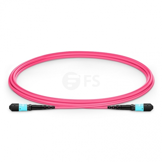 2m (7ft) MTP APC Female 16 Fibres Trunk Cable, for 400G Network Connection, Plenum (OFNP) OM4 50/125 Multimode Elite, Magenta