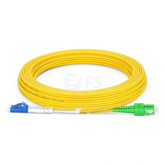 5m (16ft) Jarretière Optique LC UPC vers SC APC Duplex OS2 Monomode PVC (OFNR) 2,0mm