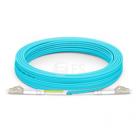 25m (82ft) LC UPC to LC UPC Duplex OM4 Multimode PVC (OFNR) 2.0mm Fibre Optic Patch Lead