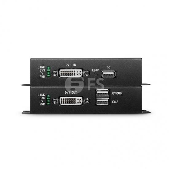 KVM extensor DVI 4K por fibra óptica LC 10km, con audio, EDID y USB 2.0
