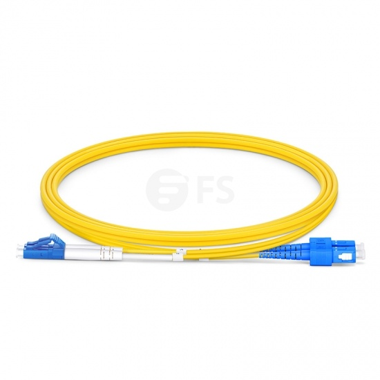 1.5m (5ft) LC UPC to SC UPC Duplex OS2 Single Mode PVC (OFNR) 2.0mm Fibre Optic Patch Lead